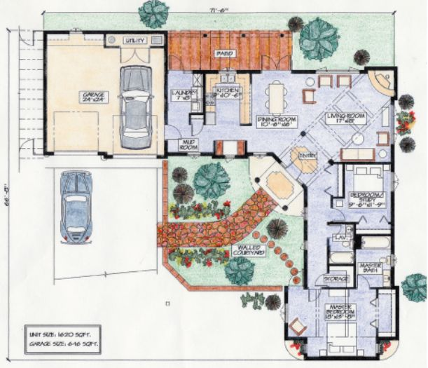 Birds of a feather casita floor plan for Adobe house plans with courtyard